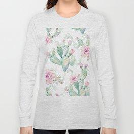 Cactus Chevron Southwestern Watercolor Long Sleeve T-shirt