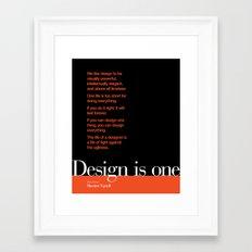 Design is One — Honoring Massimo Vignelli Framed Art Print