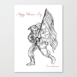 American Veterans Day Remembrance Greeting Card Canvas Print