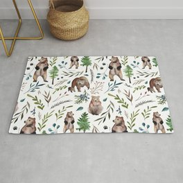 Bears, trees, and leaves pattern Rug