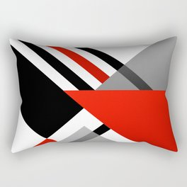 Sophisticated Ambiance - Silver & Passion Red Rectangular Pillow