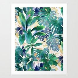 Golden Summer Tropical Emerald Jungle Art Print