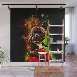 french bulldog basketball splatter watercolor Wall Mural