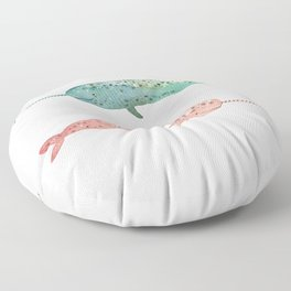 Narwhals on their way Floor Pillow