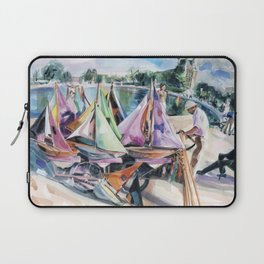 A September sun illuminates the boat tender's stand, No. 2 - The Tuileries pond, Paris Laptop Sleeve