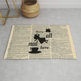 We're All Mad Here - Alice In Wonderland - Old Dictionary Page Rug
