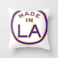 lakers Throw Pillows featuring Made in LA - LAKERS by DCMBR - December Creative Group