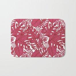 Modern tropical bright pink cheese leaves floral Bath Mat