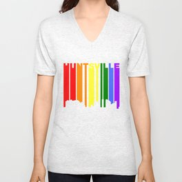 Huntsville Alabama Gay Pride Rainbow Skyline Unisex V-Neck