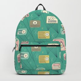 Mid-century Modern Transistor Radios and Atomic Stars / Teal Backpack