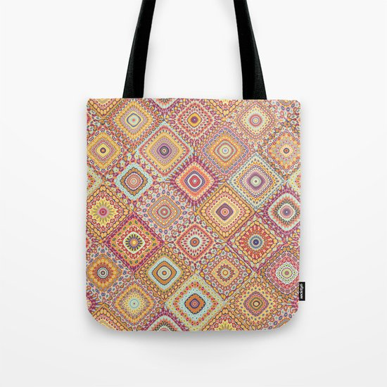 Granny S Millefiori Quilt Spring Colors Tote Bag By