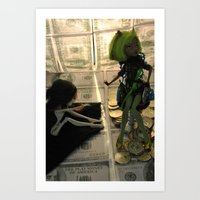 monster high Art Prints featuring Greed - As Told By Monster High Dolls by Lydia Schoepflin