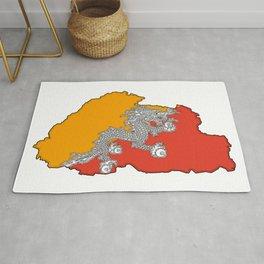 Bhutan Map with Flag Rug