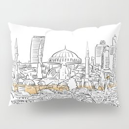 Modern and old Istanbul panorama drawing Pillow Sham