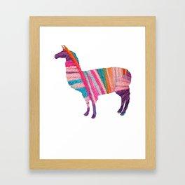 Yarn neon Llama Design funny Framed Art Print