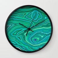 malachite Wall Clocks featuring After Malachite by Lara Mann