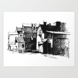 ARCHITECTURE PEN & INK DRAWING Art Print
