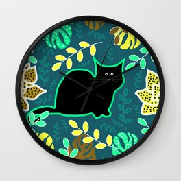Curious cat and monstera leaves Wall Clock