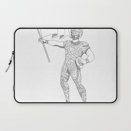 Quarterback Holding Flag Doodle Laptop Sleeve