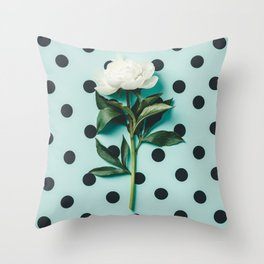 Beautiful peony flower on homemade blue polka dots Throw Pillow