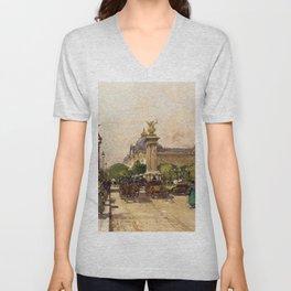 Pont Alexandre III & Grand Palais, Paris by Eugene Galien Laloue Unisex V-Neck