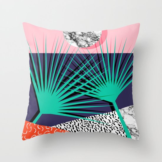Head Rush - palm springs throwback desert sunrise neon 80s style vintage fresh home decor hipster co Throw Pillow
