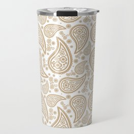 Paisley (Tan & White Pattern) Travel Mug
