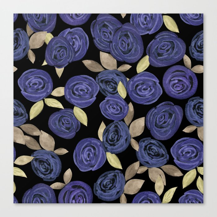 Blue watercolor roses on a black background . Canvas Print