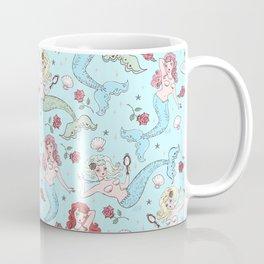 Mermaids and Roses on Aqua Coffee Mug