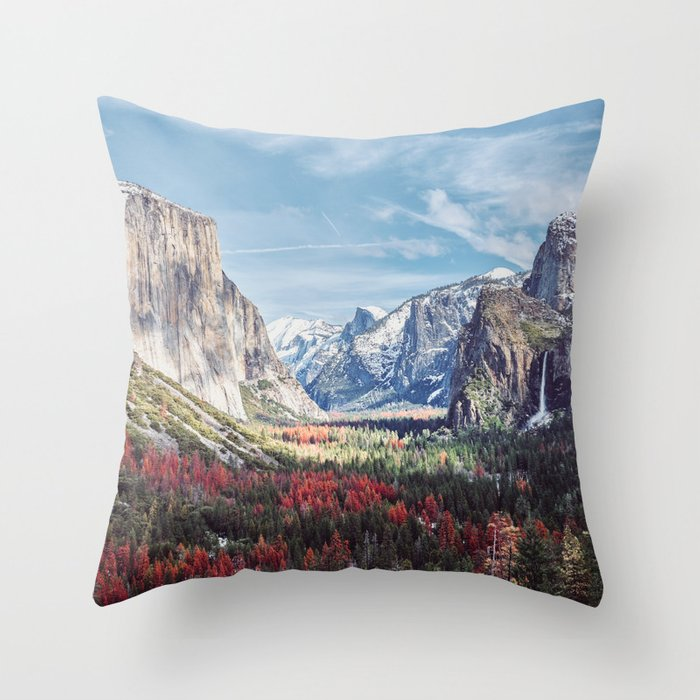 Tunnel View Yosemite Valley Throw Pillow