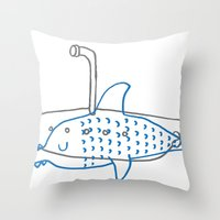 submarine Throw Pillows featuring Submarine by Ena Jurov