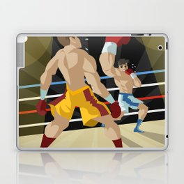 boxer performing an uppercut punch on opponent Laptop & iPad Skin