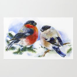 Bullfinches in winter time. Christmas Watercolor Art Rug