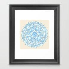 Pale Blue Pencil Pattern - hand drawn lace mandala Framed Art Print