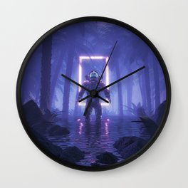 Lost In The Neon Jungle Wall Clock