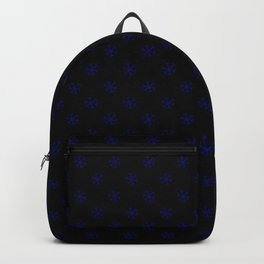 Navy Blue on Black Snowflakes Backpack