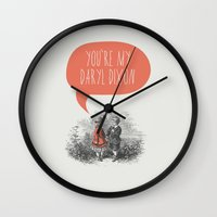 the walking dead Wall Clocks featuring Walking Dead Love Story by Zeke Tucker