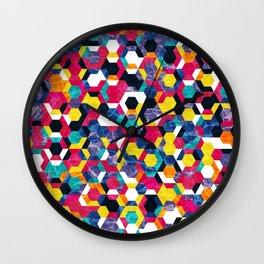Colorful Half Hexagons Pattern #06 Wall Clock
