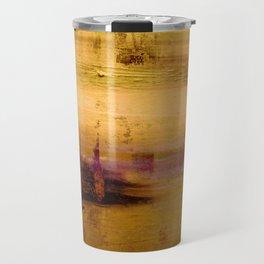 golden abstract landscape Travel Mug