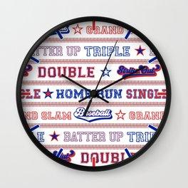 Baseball Sayings Pattern - Red White Blue Wall Clock
