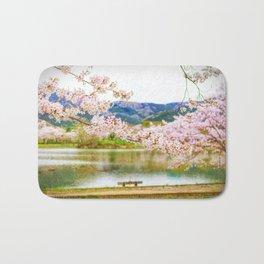 Beautiful cherry blossom and pond 2 Bath Mat