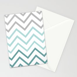 THIN TEAL CHEVRON FADE  Stationery Cards