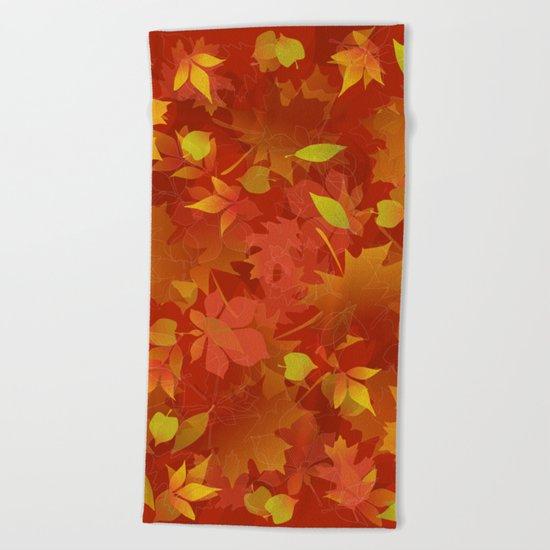 Autumn Leaves Carpet Beach Towel