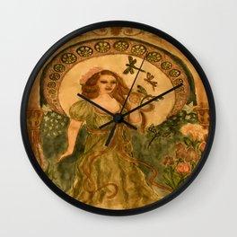 Nouveau Dragonflies in Antique Wall Clock