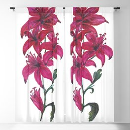 Red Lillies Watercolors Blackout Curtain