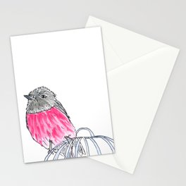 Pink Robin Watercolor Stationery Cards