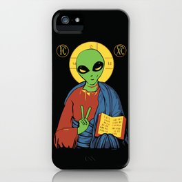 Alien Jesus - Funny Political Print iPhone Case