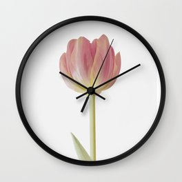 Pink Tulip Print, Pink Flower Photography Wall Clock