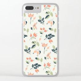 Viburnum Botanical pattern Clear iPhone Case