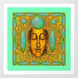 JADE GREEN PRECIOUS FIRE OPAL GEMS GOLD BUDDHA Art Print